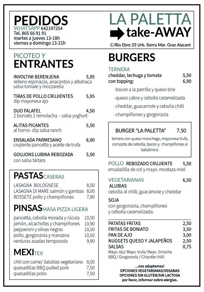 menu la paletta takeaway